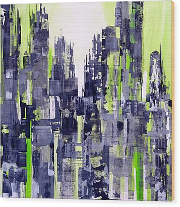 Wood Print featuring the painting Green City by Katie Black