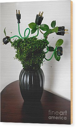 Green Energy Floral Arrangement Of Electrical Plugs Wood Print by Amy Cicconi