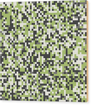 Green Pixel Art Wood Print by Mike Taylor
