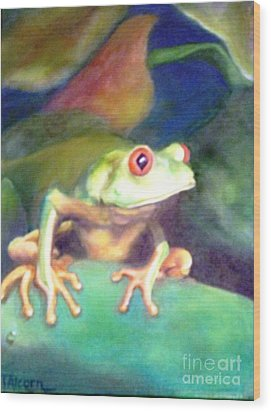 Wood Print featuring the painting Green Tree Frog - Original Sold by Therese Alcorn