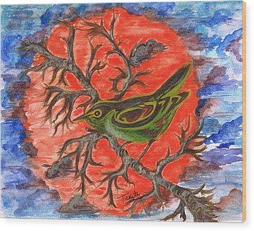 Wood Print featuring the painting Green Warbler by Teresa White