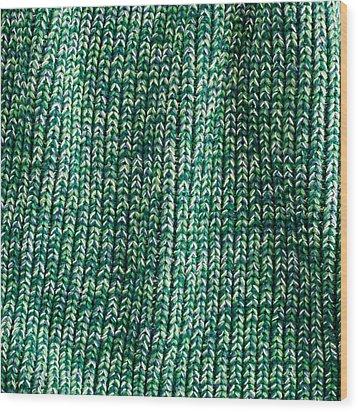 Green Wool Wood Print by Tom Gowanlock