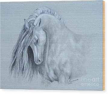 Grey Horse Wood Print by Laurianna Taylor