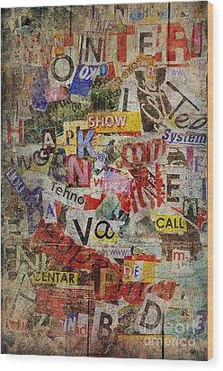 Grunge Textured Background Wood Print by Jelena Jovanovic