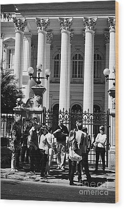 guided tour group outside the former national congress building Santiago Chile Wood Print by Joe Fox