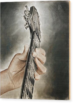 Wood Print featuring the drawing Guitarist's Point Of View by Glenn Beasley