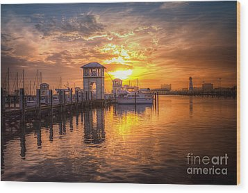 Wood Print featuring the photograph Gulfport Harbor by Maddalena McDonald