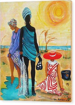 Wood Print featuring the painting Gullah-creole Trio  by Diane Britton Dunham
