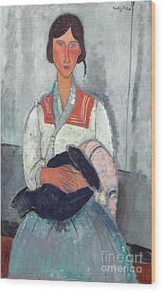 Gypsy Woman With Baby Wood Print by Amedeo Modigliani