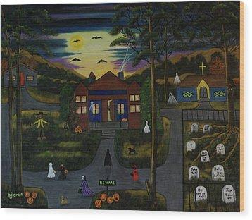 Halloween Night Wood Print by Brenda  Drain