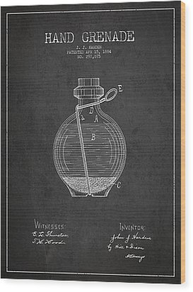 Hand Grenade Patent Drawing From 1884 Wood Print by Aged Pixel