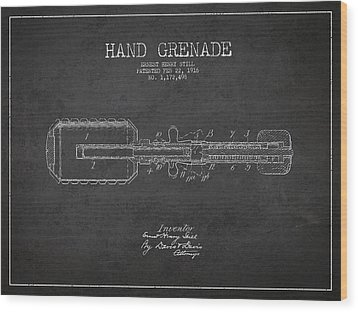 Hand Grenade Patent Drawing From 1916 Wood Print by Aged Pixel