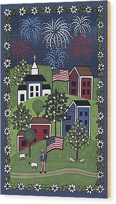 Happy 4th Of July Wood Print by Medana Gabbard