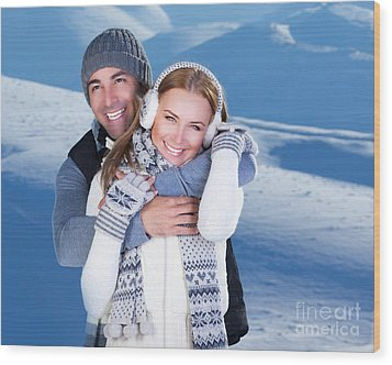 Happy Couple Playing Outdoor At Winter Mountains Wood Print by Anna Om