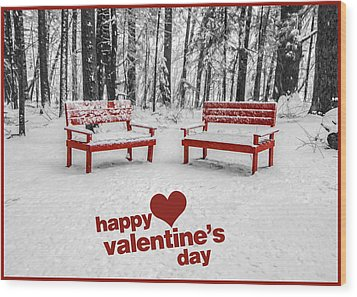 Happy Valentines Day Wood Print