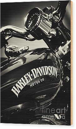 Harley D Sepia Wood Print by Tim Gainey