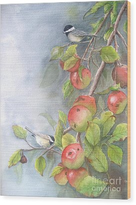 Harvest Chickadees Wood Print by Patricia Pushaw