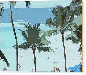 Wood Print featuring the digital art Hawaiian Beach by Karen Nicholson
