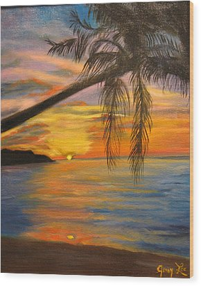 Wood Print featuring the painting Hawaiian Sunset 11 by Jenny Lee