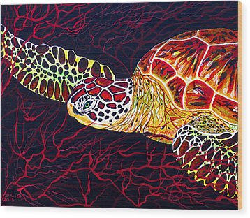 Wood Print featuring the painting  Hawksbill Turtle by Debbie Chamberlin