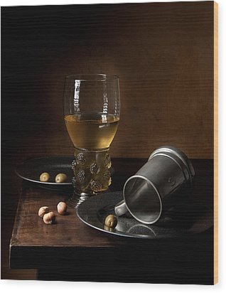 Heda - Still Life With Large Roemer And Goblet Wood Print by Levin Rodriguez