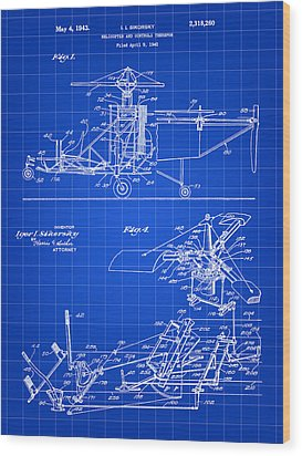 Helicopter Patent 1940 - Blue Wood Print