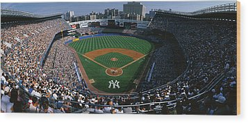 High Angle View Of A Baseball Stadium Wood Print by Panoramic Images