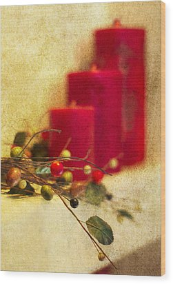 Holiday Candles Wood Print by Rebecca Cozart