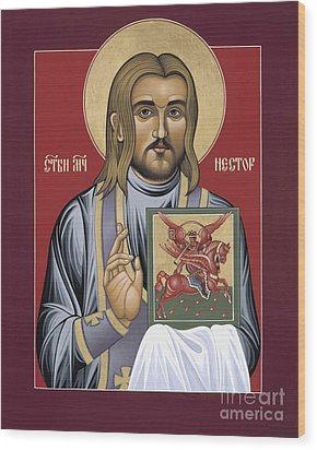 Wood Print featuring the painting Holy New Martyr Nestor Savchuk 069 by William Hart McNichols