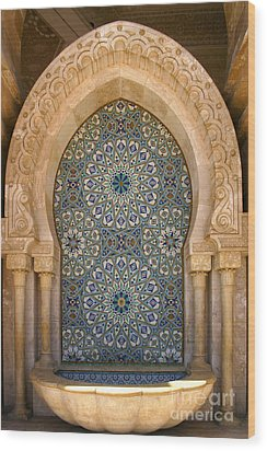 Wood Print featuring the photograph Holy Water Fountain Hassan II Mosque Sour Jdid Casablanca Morocco  by Ralph A  Ledergerber-Photography
