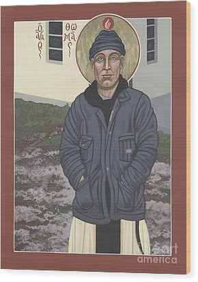Holy World Evangelist Thomas Merton 267 Wood Print by William Hart McNichols