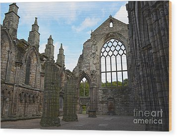 Holyrood Abbey Ruins Wood Print by DejaVu Designs
