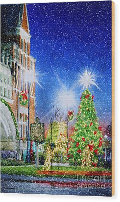 Home Town Christmas Wood Print