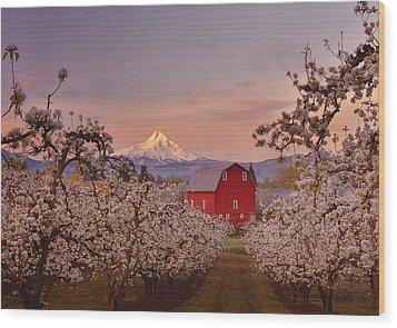 Hood River Sunrise Wood Print by Darren  White