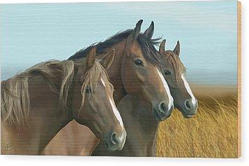 Hope Of The Mustangs Wood Print by Kate Black
