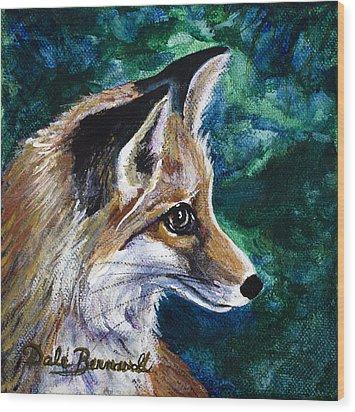Hopeful Fox Wood Print by Dale Bernard