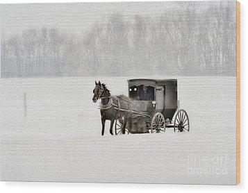 Horse And Buggy In Snow Storm Wood Print by Dan Friend