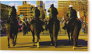 Horse Patrol Wood Print