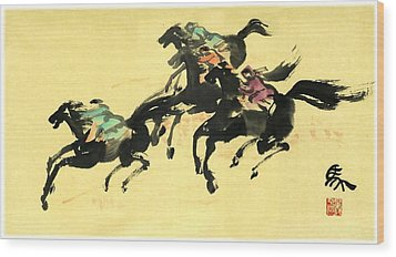 Horse Racing  Wood Print by Ping Yan