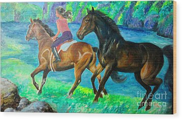 Horse Riding In Lake Wood Print by Manuel Cadag