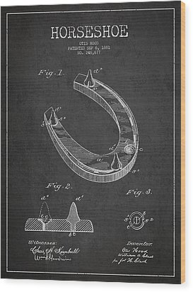 Horseshoe Patent Drawing From 1881 Wood Print by Aged Pixel