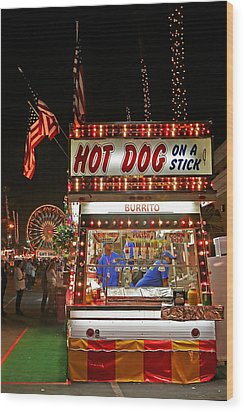 Hot Dog On A Stick Wood Print by Peter Tellone