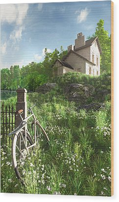House On The Hill Wood Print by Cynthia Decker