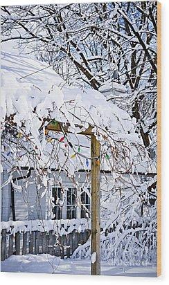 House Under Snow Wood Print by Elena Elisseeva