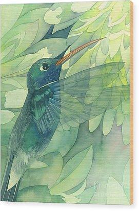 Hummingbird And Chrysanthemum Wood Print