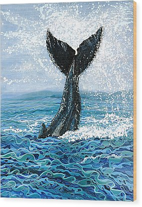 Wood Print featuring the painting Humpback Flukes by Debbie Chamberlin
