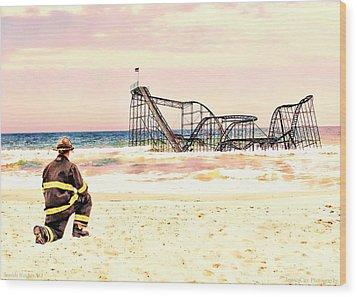 Hurricane Sandy Fireman Wood Print by Jessica Cirz