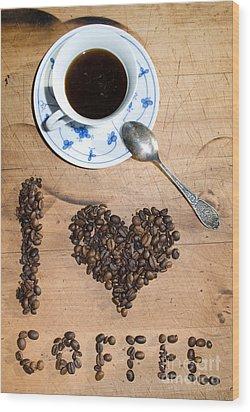 I Love Coffee Wood Print by Sarka Olehlova