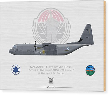 Wood Print featuring the drawing Isralei Air Force C-130j Shimshon by Amos Dor