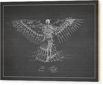 Icarus Flying Machine Patent Drawing Rear View Wood Print by Aged Pixel